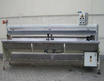 BERGSMANN Tilting table with integrated conveyor belt for double strand extrusion ZWILL ABWURFB.